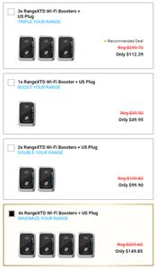 The RangeXTD Wi-Fi Booster is priced between $35 and $50 per unit, depending how many you buy.See price chart below.