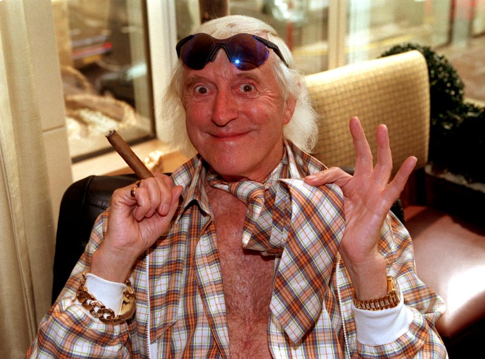 """PA NEWS PHOTO 28/4/98 FORMER DJ AND TELEVISON PERSONALITY JIMMY SAVILE AT THE """"TIE WEARERS OF THE YEAR AWARDS"""" AT THE HYATT CARLTON HOTEL, LONDON   (Photo by Peter Jordan - PA Images/PA Images via Getty Images)"""