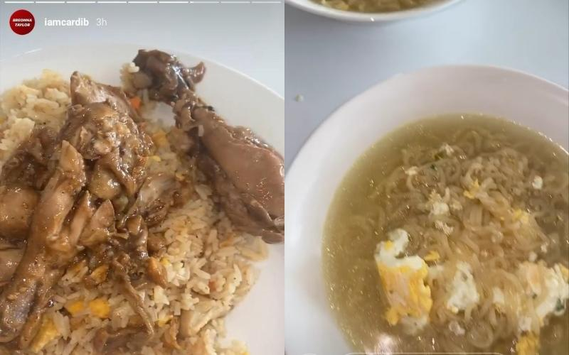 Cardi B's social media uploads of what appears to be ayam masak kicap (left) and Indomie (right).