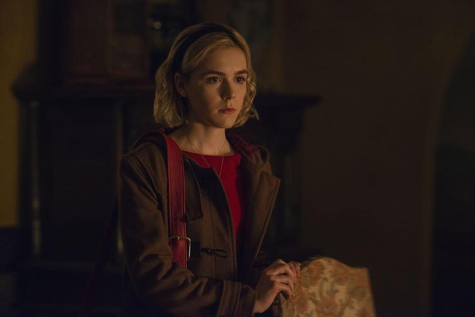 """<p>Kiernan Shipka is at the center of this original series inspired by the Archie comic. Borrowing from the fantasy of <em><a href=""""https://www.amazon.com/Sabrina-Teenage-Witch-Complete-Seasons/dp/B01619206U/?tag=syn-yahoo-20&ascsubtag=%5Bartid%7C10063.g.35489365%5Bsrc%7Cyahoo-us"""" rel=""""nofollow noopener"""" target=""""_blank"""" data-ylk=""""slk:Sabrina the Teenage Witch"""" class=""""link rapid-noclick-resp"""">Sabrina the Teenage Witch</a></em>, the show is dark, mysterious, and focuses on Sabrina, a teenager who grapples with her life as a witch <em>and </em>human.</p><p><a class=""""link rapid-noclick-resp"""" href=""""https://www.netflix.com/title/80223989"""" rel=""""nofollow noopener"""" target=""""_blank"""" data-ylk=""""slk:Watch Now"""">Watch Now </a></p>"""
