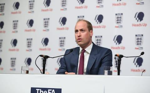 Prince William, Duke of Cambridge, President of the Football Association speaks to the press about mental health at Wembley - Credit: AFP