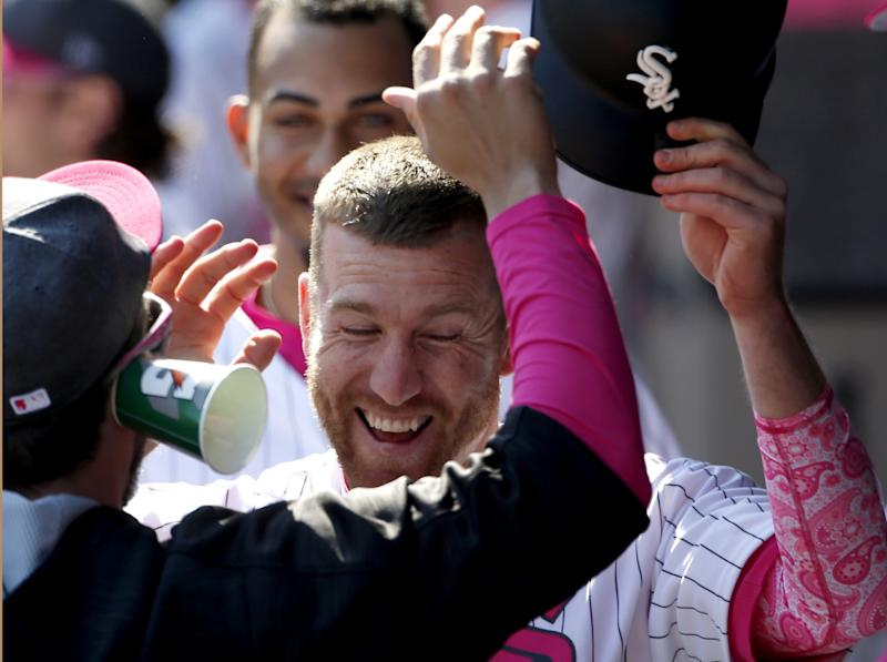 Todd Frazier is probably still laughing after fooling the Padres on Sunday. (AP Photo/Nam Y. Huh)