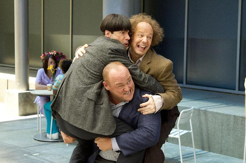 """In this image released by 20th Century Fox, clockwise from left, Chris Diamantopoulos, Sean Hayes and Will Sasso are shown in a scene from """"The Three Stooges."""" (AP Photo/20th Century Fox, Peter Iovino)"""