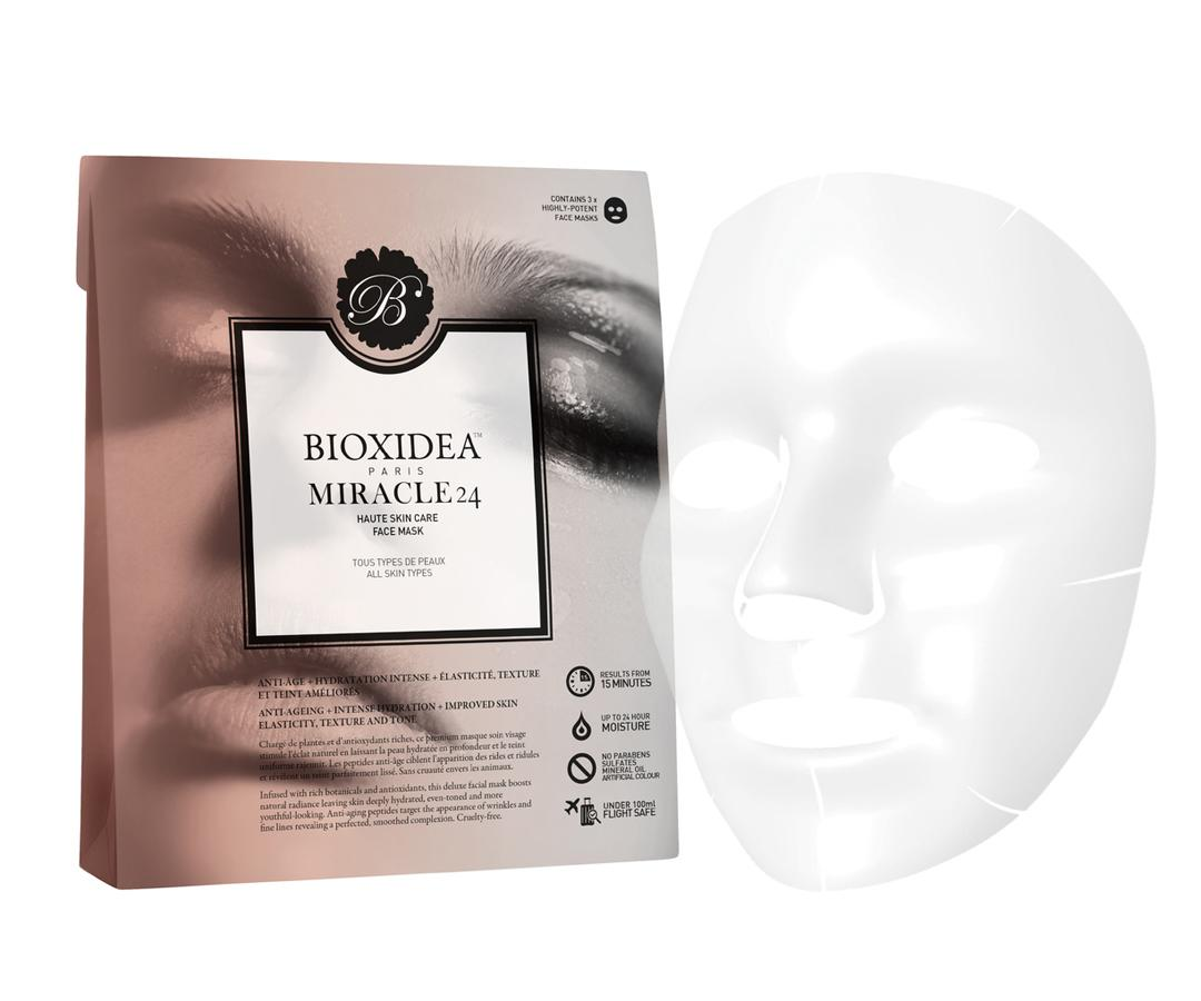 "<p>If you don't don't believe in miracles, this sheet mask is about to change that. Its soaked with a serum that's enriched with potent antioxidants and nutrients that not only immediately hydrates skin, but downsizes visible signs of again like fine lines and crow's feet. </p> <p>$39 | <a rel=""nofollow"" href='http://bioxideausa.com/miracle-24-face-mask'>SHOP IT</a></p>"