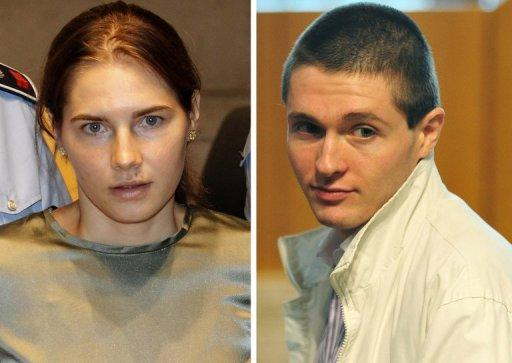 This combination photo shows Amanda Knox and her former boyfriend Raffaele Sollecito during their trial