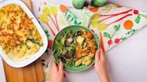 """<p>This veggie pasta bake has flavoursome pesto running through its light, creamy and zesty cheese sauce, making it the perfect al-fresco meal for those warmer summer evenings.</p><p><strong>Recipe: <a href=""""https://www.goodhousekeeping.com/uk/food/recipes/a29572295/vegetable-pasta-bake/"""" rel=""""nofollow noopener"""" target=""""_blank"""" data-ylk=""""slk:Courgette and Tomato Pesto Pasta Bake"""" class=""""link rapid-noclick-resp"""">Courgette and Tomato Pesto Pasta Bake</a></strong></p>"""