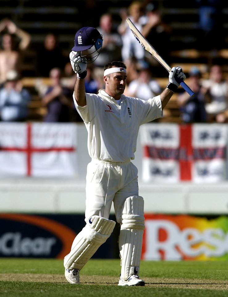 15 Mar 2002:  Graham Thorpe of England celebrates reaching his double century during the 3rd day of the New Zealand v England 1st Test at the Jade Stadium, Christchurch, New Zealand. DIGITAL IMAGE. Mandatory Credit: Tom Shaw/Getty Images