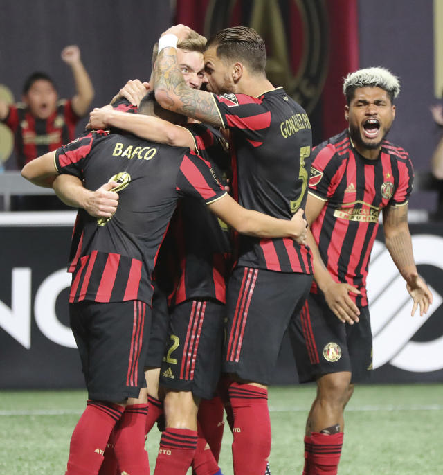 Atlanta United's Julian Gressel celebrates his score against the Philadelphia Union during the first half of an MLS soccer Eastern Conference semifinal Thursday, Oct. 24, 2019, in Atlanta. (Curtis Compton/Atlanta Journal-Constitution via AP)