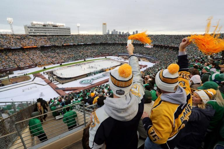 Nashville Predators fans cheer after a second goal in the first period of the NHL Winter Classic at the Cotton Bowl, but it wasn't enough to hold off the Dallas Stars