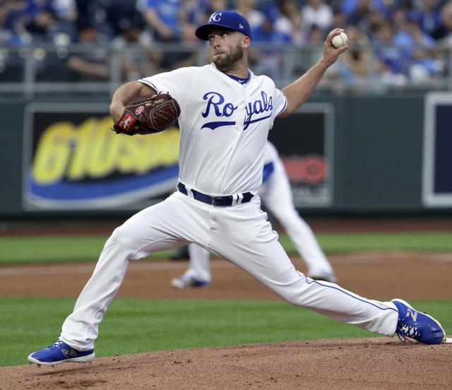 Kansas City Royals starting pitcher Danny Duffy delivers to a New York Yankees batter during the first inning a baseball game at Kauffman Stadium in Kansas City, Mo., Saturday, May 19, 2018. (AP Photo/Orlin Wagner)