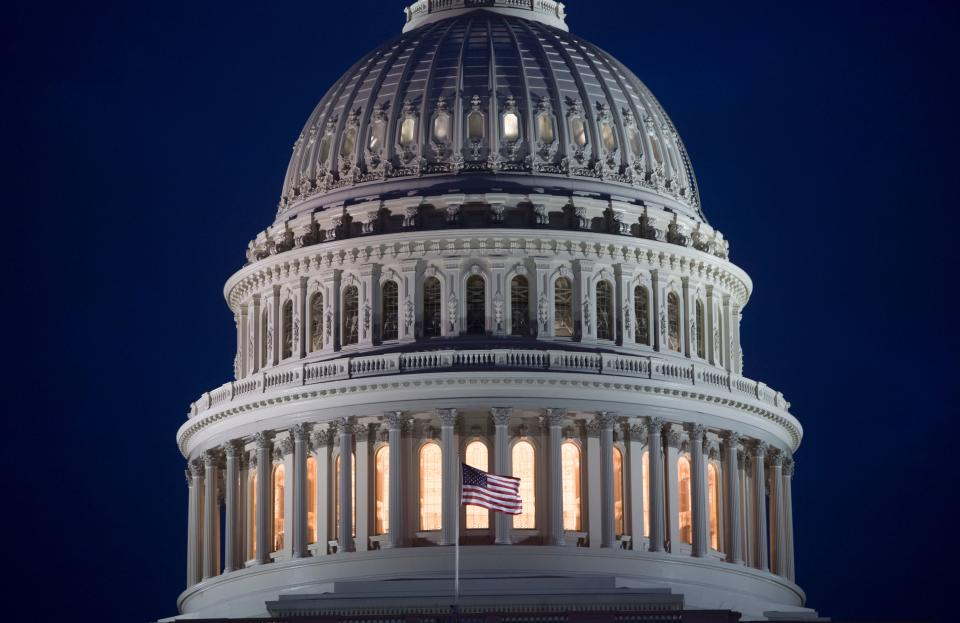 The US Capitol Building is seen at dusk in Washington, DC, February 6, 2018. AFP PHOTO / SAUL LOEB (Photo credit should read SAUL LOEB/AFP/Getty Images)