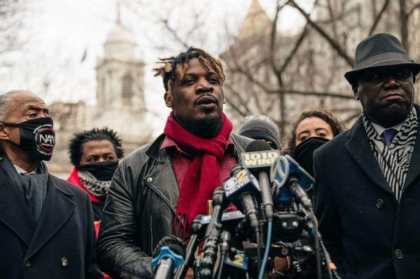 PHOTO: Jazz musician Keyon Harrold speaks at a press conference held in lower Manhattan on Dec. 30, 2020, in New York City. (Scott Heins/Getty Images, FILE)