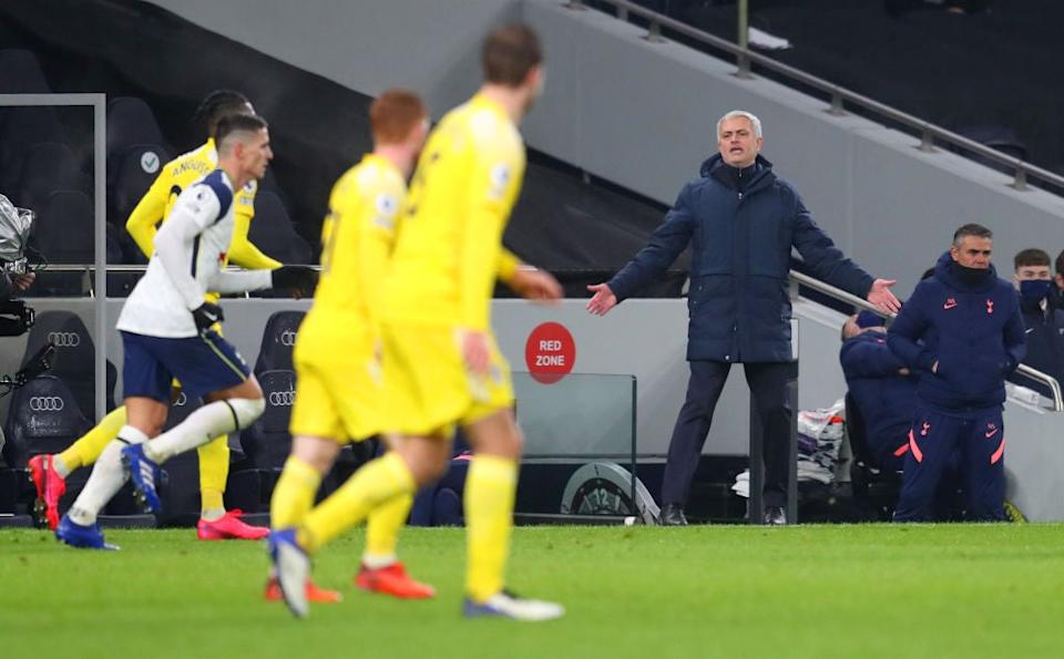 Mourinho protests during Tottenham's draw with FulhamGetty