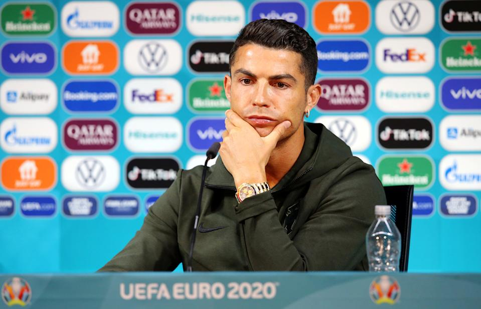 Soccer Football - Euro 2020 - Portugal Press Conference - Puskas Arena, Budapest, Hungary - June 14, 2021 Portugal's Cristiano Ronaldo during the press conference UEFA/Handout via REUTERS ??ATTENTION EDITORS - THIS IMAGE HAS BEEN SUPPLIED BY A THIRD PARTY. NO RESALES. NO ARCHIVES