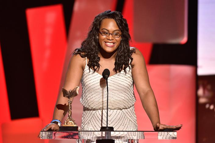 """Mya Taylor poses with the award for best supporting female for """"Tangerine"""" at the Film Independent Spirit Awards. (Kevork Djansezian)"""