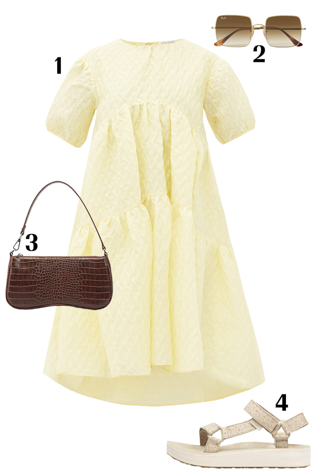 """<p>Cecilie Bahnsen's pieces are beloved for their voluminous silhouettes, and this oversized buttercup yellow Effie dress exudes a feminine, chic and effortless feel. This dress is made from linen-blend cloqué with puffed sleeves and a tiered skirt. Opt for a whimsical pair of Teva sandals and JW PEI brown croc shoulder bag. </p><p><strong>SHOP THE OUTFIT:</strong> 1. <a href=""""https://www.matchesfashion.com/us/products/1336520?country=USA&rffrid=sem.Google.n=g.cid=1775715037.aid=77513567988.k=.mty=.d=c.adp=.cr=343497854822.tid=aud-430673859575:pla-296303633664.pid=1336520000006.ppid=296303633664.lpm=9004332.adty=pla.prl=en&utm_content=1336520000006&utm_term=296303633664.[value].&gclid=Cj0KCQjwu6fzBRC6ARIsAJUwa2TDEbibpBvNOiiPTNWgLysjTRe9RERL_PyDrzbyZ12eY2cc3n4LGnQaAlDjEALw_wcB&gclsrc=aw.ds"""" target=""""_blank"""">Cecilie Bahnsen Dress</a> $1,509; 2. <a href=""""https://www.net-a-porter.com/us/en/product/1227141/RayBan/square-frame-gold-tone-sunglasses"""" target=""""_blank"""">Ray-Ban Sunglasses</a> $170; 3. <a href=""""https://jwpei.com/collections/shoulder-bag/products/eva-shoulder-bag-brown-croc"""" target=""""_blank"""">JW PEI Bag</a> $44; 4. <a href=""""https://www.teva.com/women-sandals/midform-universal-star/1110763.html#start=16&cgid=women-sandals"""" target=""""_blank"""">Teva Sandals</a> $85</p>"""