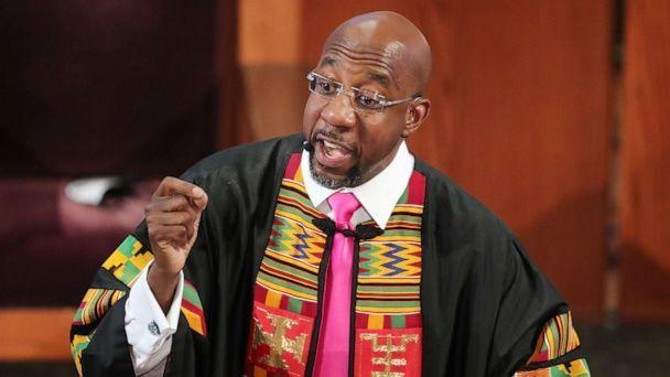 PHOTO: Rev. Raphael G. Warnock delivers the eulogy for Rayshard Brooks at his funeral in Ebenezer Baptist Church, June 23, 2020, in Atlanta. (Curtis Compton/Getty Images, FILE)
