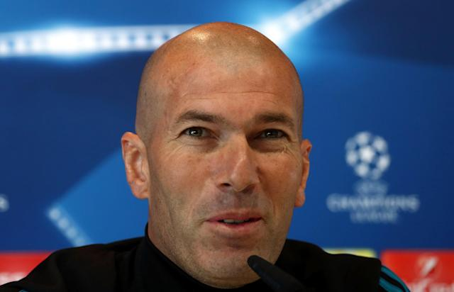 Soccer Football - Champions League - Real Madrid Press Conference - Real Madrid City, Madrid, Spain - May 22, 2018 Real Madrid coach Zinedine Zidane during the press conference REUTERS/Sergio Perez