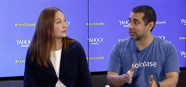 Coinbase M&A chief Emilie Choi (L) and Coinbase CTO Balaji Srinivasan at the Yahoo Finance All Markets Summit: Crypto in San Francisco on June 14, 2018. (Jeremy Waldorph/Oath)