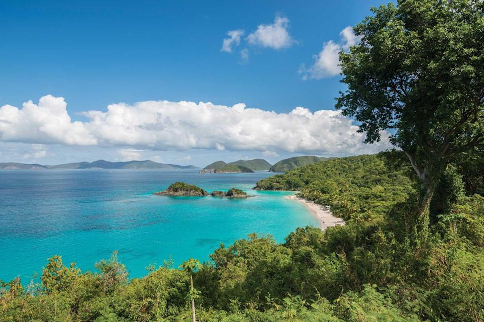 View of a beach on the US Virgin Island of St John