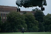 Marine One lifts off with President Joe Biden, who is keen to extricate the US from foreign conflicts (AFP/Brendan Smialowski)