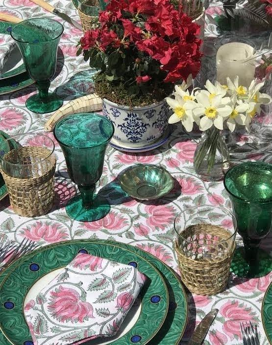 Amory's Strawberry Fields linens paired with with malachite and lapis lazuli–infused Mottahedeh designs.