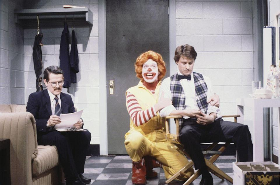 "<p>Tim Kazurinsky, Gary Kroeger, and Joe Piscopo starred in a skit called ""<a href=""https://www.nbc.com/saturday-night-live/video/angry-ronald-mcdonald/n9126"" rel=""nofollow noopener"" target=""_blank"" data-ylk=""slk:Angry Ronald McDonald"" class=""link rapid-noclick-resp"">Angry Ronald McDonald</a>"" that portrayed the McDonald's mascot as a demanding, egotistical, and hot-headed entertainer, which goes to show how big of a cultural mainstay he was at the time (and still is!). </p>"