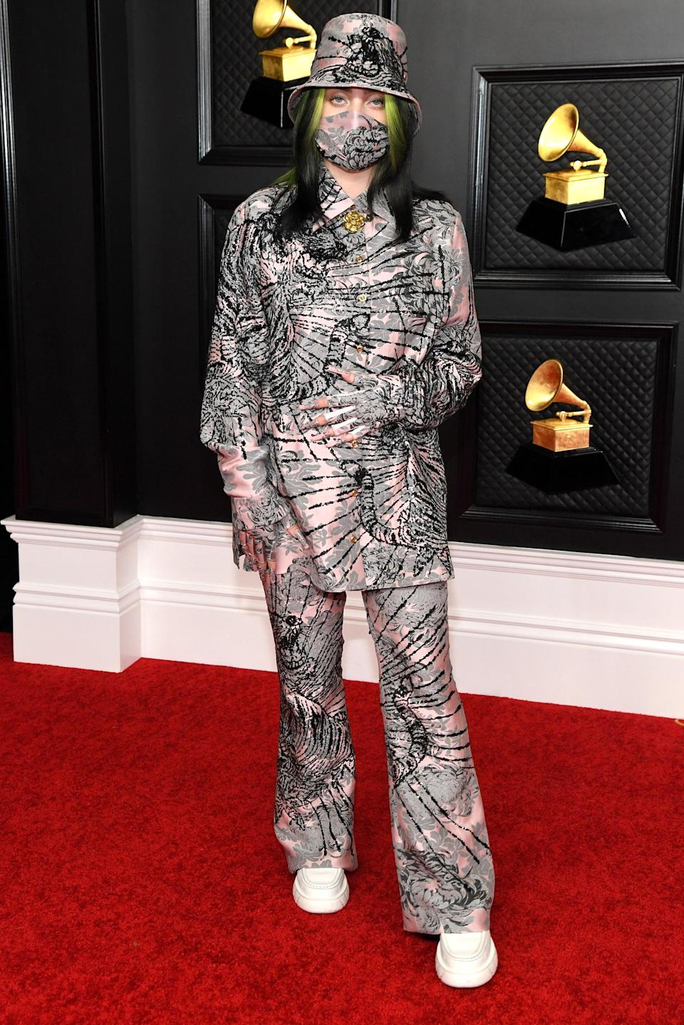 """<h2>Billie Eilish in Gucci</h2><br>Billie Eilish's first look of the night was """"Everything I Wanted."""" <span class=""""copyright"""">Photo: Kevin Mazur/Getty Images.</span>"""