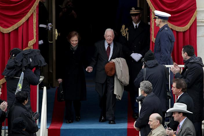 <p>Former President Jimmy Carter and wife Rosalynn Carter arrive on the West Front of the U.S. Capitol on January 20, 2017 in Washington, DC. (Photo : Alex Wong/Getty Images) </p>