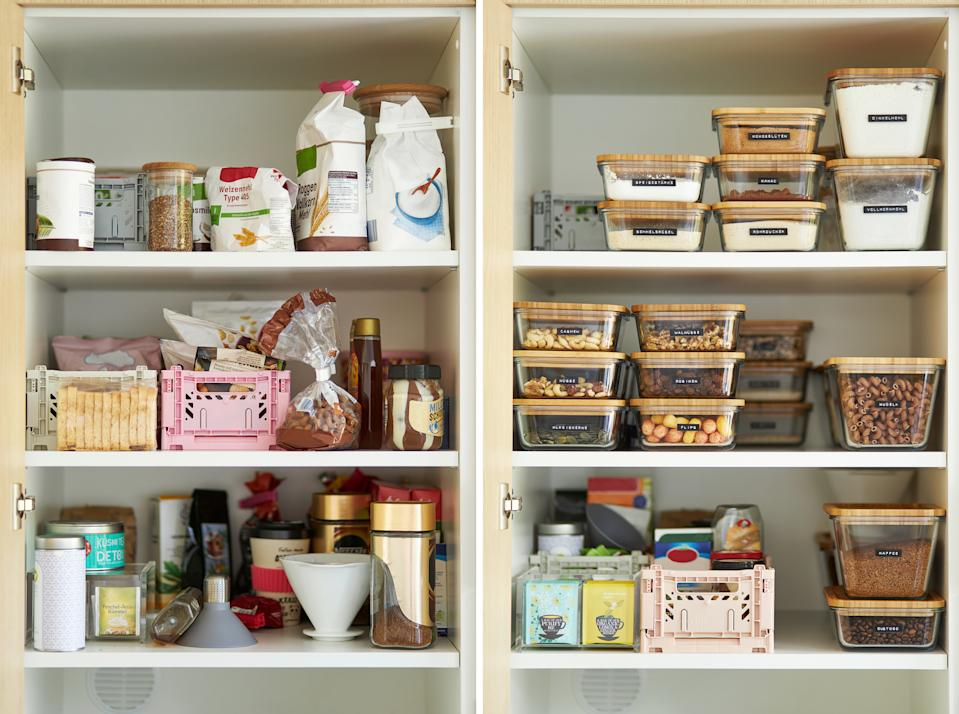 A middle-aged woman tidies up her cupboard in the kitchen and reorganizes everything to make a comparison before and after