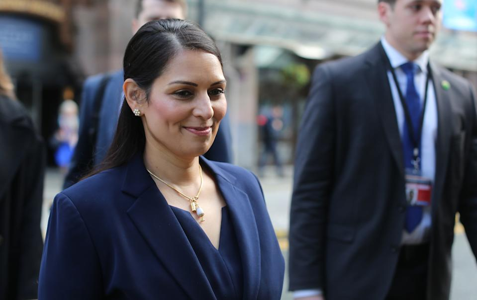 Home Secretary Priti Patel leaving The Midland hotel during the second day of the Conservative Party Conference being held at the Manchester Convention Centre. Picture dated: Monday September 30, 2019. Photo credit should read: Isabel Infantes / EMPICS Entertainment.