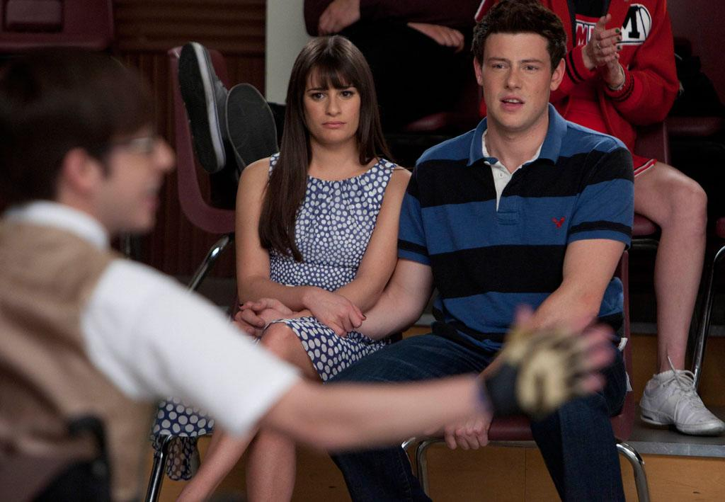 "Rachel (Lea Michele, L) and Finn (Cory Monteith, R) watch Artie perform in ""Big Brother,"" the Spring Premiere episode of ""Glee."""