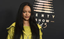 """Musician and entrepreneur Rihanna attends an event for her lingerie line Savage X Fenty at the Westin Bonaventure Hotel in Los Angeles on on Aug. 28, 2021. The lingerie fashion show, """"Savage X Fenty Show Vol. 3,"""" will premiere Friday on Amazon Prime Video. (Photo by Jordan Strauss/Invision/AP)"""