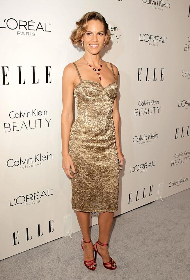 "Three days later, the A-list actress was back in Beverly Hills and looking better than ever in a golden Calvin Klein bustier dress and ruby-red Louboutin heels at <i>Elle's</i> 17th annual Women in Hollywood fete. Jeff Vespa/<a href=""http://www.gettyimages.com/"" target=""new"">GettyImages.com</a> - October 18, 2010"