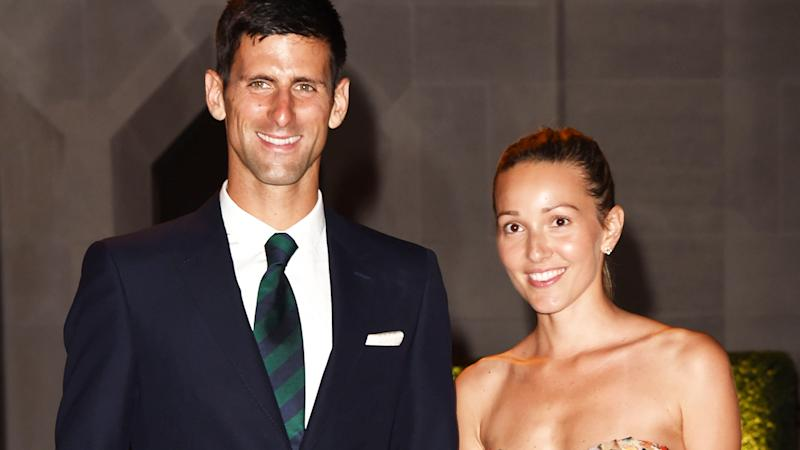 Novak and Jelena Djokovic, pictured here at the Wimbledon champions dinner in 2015.