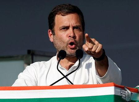 FILE PHOTO: Rahul Gandhi, President of India's main opposition Congress party, addresses his party's supporters during a public meeting in Gandhinagar