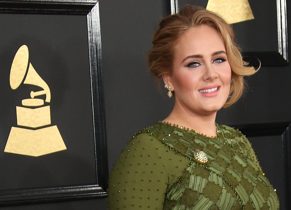 Adele arrives at The 59th GRAMMY Awards at Staples Center on February 12, 2017 in Los Angeles, California. (Photo by Dan MacMedan/WireImage)
