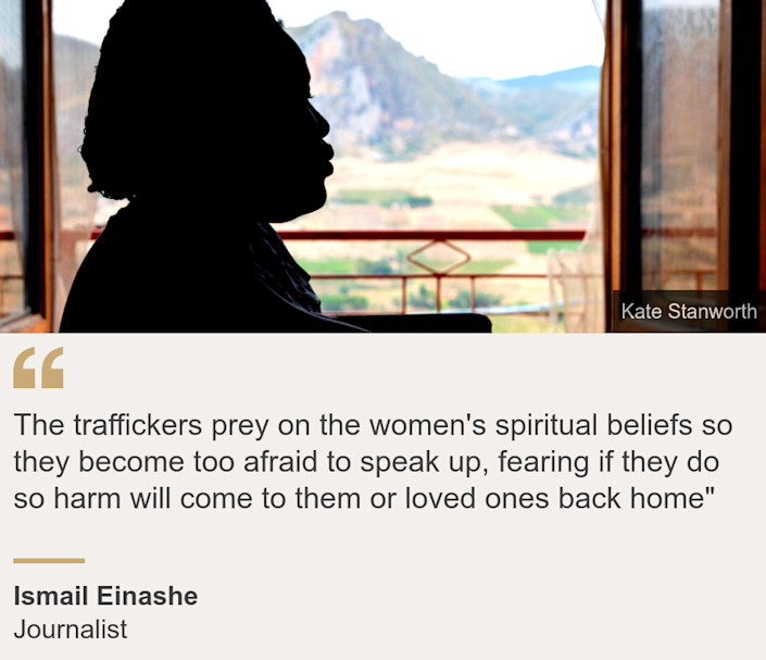 """""""The traffickers prey on the women's spiritual beliefs so they become too afraid to speak up, fearing if they do so harm will come to them or loved ones back home"""""""", Source: Ismail Einashe, Source description: Journalist, Image: The silhouette of a woman at a shelter for Nigerian women in Sicily, Italy"""
