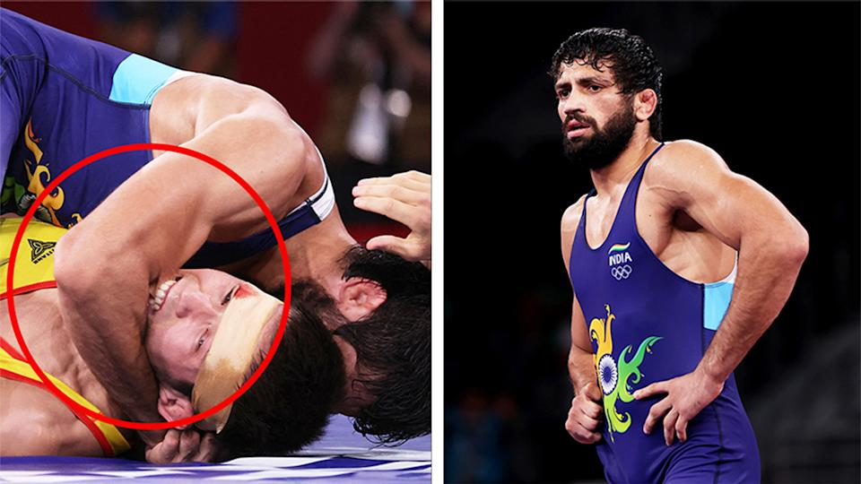 Kumar Ravi (pictured right) after a match at the Olympics and (pictured left) his opponent Nurislam Sanayev biting him during the match.