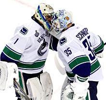 Luongo offered words of encouragement to replacement Cory Schneider in Game 6, but the Canucks backup couldn't hear over the roar of the Boston crowd