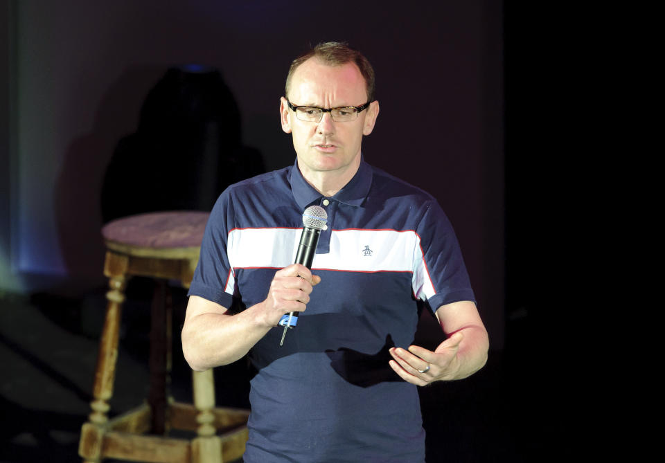 Sean Lock on stage at the Mencap April Fools charity comedy night, at the Hammersmith Apollo in west London.