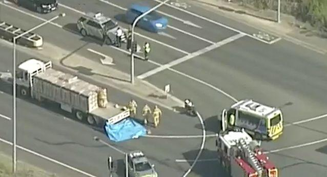 Police said the woman died after a truck driver allegedly failed to give way and crashed into her motorbike. Photo: 7 News