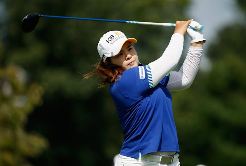 Park In-Bee hits her tee shot on the second hole during the final round of the LPGA Championship in Pittsford, New York on August 17, 2014