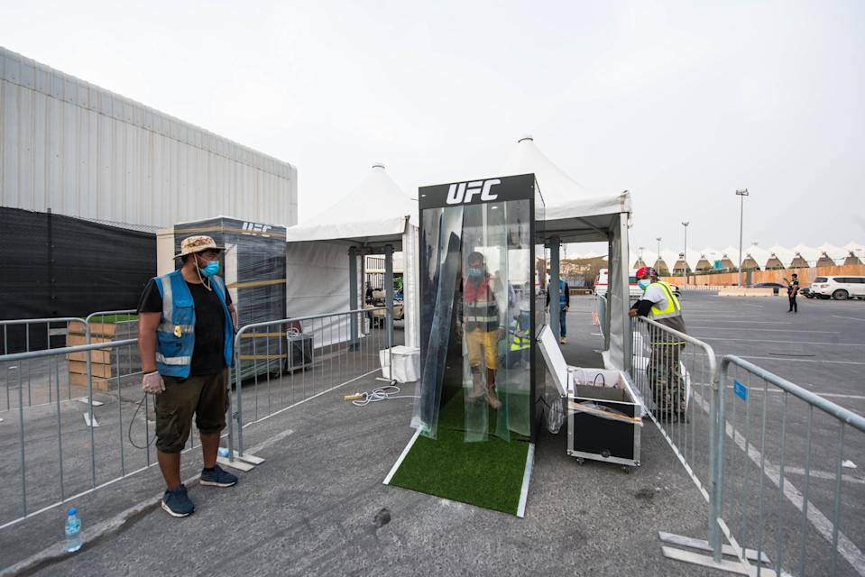 """The sanitizing """"mist tunnel"""" on Fight Island in Abu Dhabi. (Courtesy of the UFC)"""