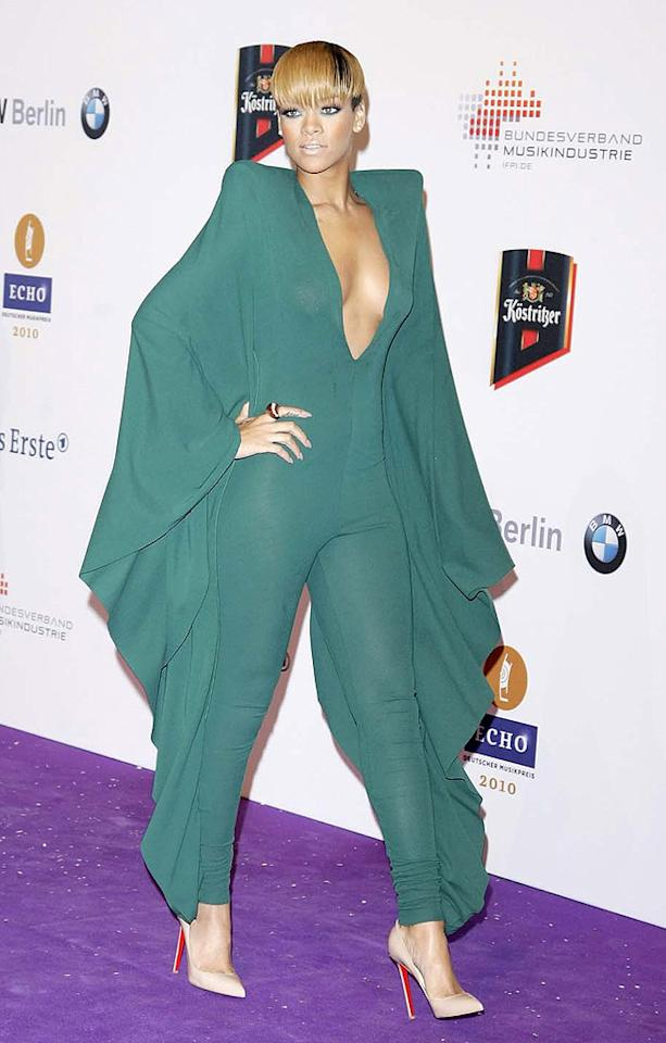 """The bat-out-of-hell Alexandre Vauthier Spring 2010 couture jumpsuit Rihanna rocked at the Echo Awards in Berlin was actually kind of cool. It's the bowl haircut that's killing us. Florian Seefried/<a href=""""http://www.gettyimages.com/"""" target=""""new"""">GettyImages.com</a> - March 4, 2010"""