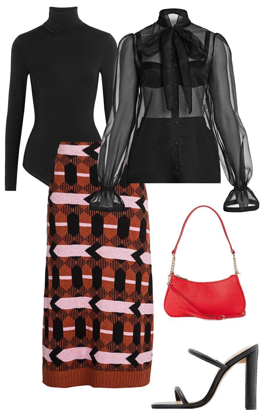 """<p>Need a solution for your favorite sheer blouse? Pop on this multi-tasking turtleneck to paint the town red.</p><p>Shop the pieces: <a href=""""https://www.net-a-porter.com/us/en/product/618045/Wolford/colorado-thong-bodysuit"""" rel=""""nofollow noopener"""" target=""""_blank"""" data-ylk=""""slk:Wolford Colorado Bodysuit"""" class=""""link rapid-noclick-resp""""><em>Wolford Colorado Bodysuit</em></a>; $250, <em><a href=""""https://www.farfetch.com/shopping/women/dolce-gabbana-pussy-bow-sheer-blouse-item-14718423.aspx?fsb=1&size=22&storeid=13098&utm_source=google&utm_medium=cpc&utm_keywordid=119356666&utm_shoppingproductid=14718423-5254&pid=google_search&af_channel=Search&c=2069920048&af_c_id=2069920048&af_siteid=&af_keywords=aud-369354889807:pla-413546134302&af_adset_id=75217631214&af_ad_id=257034989971&af_sub1=119356666&af_sub5=14718423-5254&is_retargeting=true&shopping=yes&gclid=Cj0KCQiAj9iBBhCJARIsAE9qRtAw7L9beNy_gv9B8qdggnymspA5f0gpYL4fKfbRWOB8BeA96K8Atp8aAskLEALw_wcB"""" rel=""""nofollow noopener"""" target=""""_blank"""" data-ylk=""""slk:Dolce & Gabbanna Top"""" class=""""link rapid-noclick-resp"""">Dolce & Gabbanna Top</a></em>; $585 (similar), <a href=""""https://www.farfetch.com/shopping/women/prada-punto-stoffa-knit-skirt-item-15093211.aspx?storeid=11241"""" rel=""""nofollow noopener"""" target=""""_blank"""" data-ylk=""""slk:Prada Skirt"""" class=""""link rapid-noclick-resp""""><em>Prada Skirt</em></a>; $3,650 (similar); <em><a href=""""https://www.farfetch.com/shopping/women/dolce-gabbana-pussy-bow-sheer-blouse-item-14718423.aspx?fsb=1&size=22&storeid=13098&utm_source=google&utm_medium=cpc&utm_keywordid=119356666&utm_shoppingproductid=14718423-5254&pid=google_search&af_channel=Search&c=2069920048&af_c_id=2069920048&af_siteid=&af_keywords=aud-369354889807:pla-413546134302&af_adset_id=75217631214&af_ad_id=257034989971&af_sub1=119356666&af_sub5=14718423-5254&is_retargeting=true&shopping=yes&gclid=Cj0KCQiAj9iBBhCJARIsAE9qRtAw7L9beNy_gv9B8qdggnymspA5f0gpYL4fKfbRWOB8BeA96K8Atp8aAskLEALw_wcB"""" rel=""""nofollow noopener"""" target=""""_blank"""" data-ylk=""""slk:Al"""