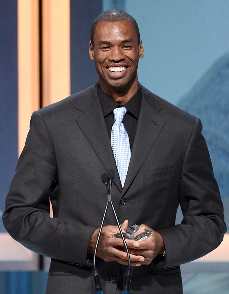 CENTURY CITY, CA - MAY 19:  Pro basketball player Jason Collins speaks onstage after receiving the Inspirational Athlete of the Year Award at the 28th Anniversary Sports Spectacular Gala at the Hyatt Regency Century Plaza on May 19, 2013 in Century City, California.  (Photo by Kevin Winter/Getty Images for Sports Spectacular)