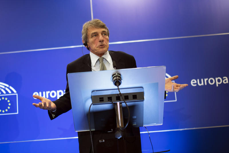 European Parliament President David Sassoli talks to journalists during a news conference at the European Parliament in Brussels, Thursday, Sept. 12, 2019. Sassoli says Prime Minister Boris Johnson's government has made no new proposals that would unblock Brexit talks and that talking about removing the so-called backstop from the divorce agreement is a waste of time. (AP Photo/Francisco Seco)