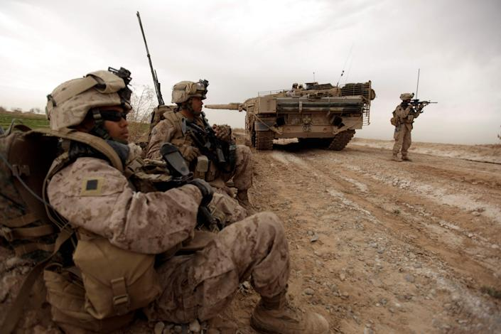 February 2010, US Marine Corps in the suburbs of Marja, Afghanistan (AFP via Getty Images)