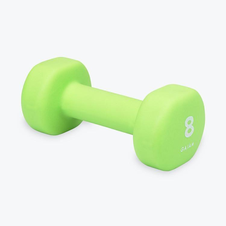 """<p><strong>gaiam</strong></p><p>gaiam.com</p><p><strong>$16.98</strong></p><p><a href=""""https://go.redirectingat.com?id=74968X1596630&url=https%3A%2F%2Fwww.gaiam.com%2Fproducts%2F05-62091_2%3Fvariant%3D32665714177%26gclid%3DEAIaIQobChMIpIW7iITD6gIVDr7ACh0BRw8iEAQYAiABEgJU_vD_BwE&sref=https%3A%2F%2Fwww.womenshealthmag.com%2Ffitness%2Fg29367992%2Fbest-dumbbells%2F"""" rel=""""nofollow noopener"""" target=""""_blank"""" data-ylk=""""slk:Shop Now"""" class=""""link rapid-noclick-resp"""">Shop Now</a></p><p>These neoprene dumbbells have an extra thick coating for added durability. Plus, they're super lightweight which makes them perf for working on your <a href=""""https://www.womenshealthmag.com/fitness/a33648839/what-is-muscular-endurance-we-asked-a-trainer/"""" rel=""""nofollow noopener"""" target=""""_blank"""" data-ylk=""""slk:muscular endurance"""" class=""""link rapid-noclick-resp"""">muscular endurance</a> with <a href=""""https://www.womenshealthmag.com/fitness/a29135601/heavy-or-light-weights-workout/"""" rel=""""nofollow noopener"""" target=""""_blank"""" data-ylk=""""slk:high-rep/low-weight exercises"""" class=""""link rapid-noclick-resp"""">high-rep/low-weight exercises</a>. </p><p><strong>Reviewer Rave:</strong> """"I really like these weights. As a small woman, many weights are bulky and awkward for me to work with. These are perfect and have a softer grip."""" —<em>Cammy, <a href=""""https://www.gaiam.com/products/05-62091_2"""" rel=""""nofollow noopener"""" target=""""_blank"""" data-ylk=""""slk:gaiam.com"""" class=""""link rapid-noclick-resp"""">gaiam.com</a></em></p>"""